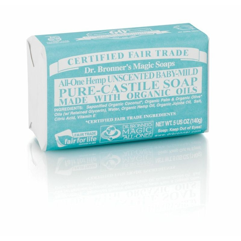 Dr Bronner\'s Magic Bar Soap - All-One Hemp Pure Castile Soap - UNSCENTED Baby-Mild