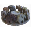 Mt Meru Leg Soapstone 8 Elephants Circle Incense and cone Burner